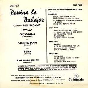 Porrina De Badajoz - ColumbiaECGE 71296